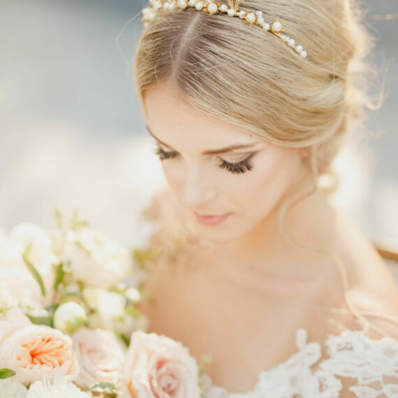 Metal Flower Headband with Pearls crown tiara in gold