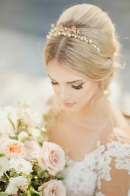 Metal Flower Headband with Pearls crown tiara in gold