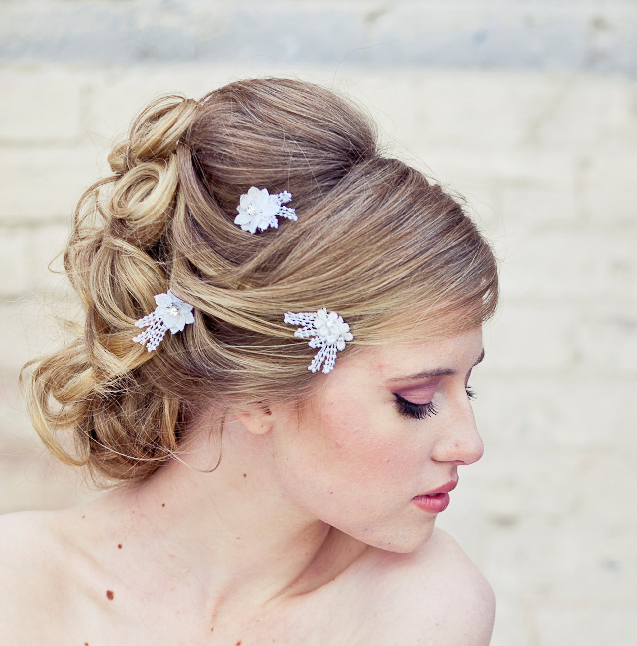 Lace Bobby Pin Wedding Hair Accessories Lace Daisy Bobby Pin Set In