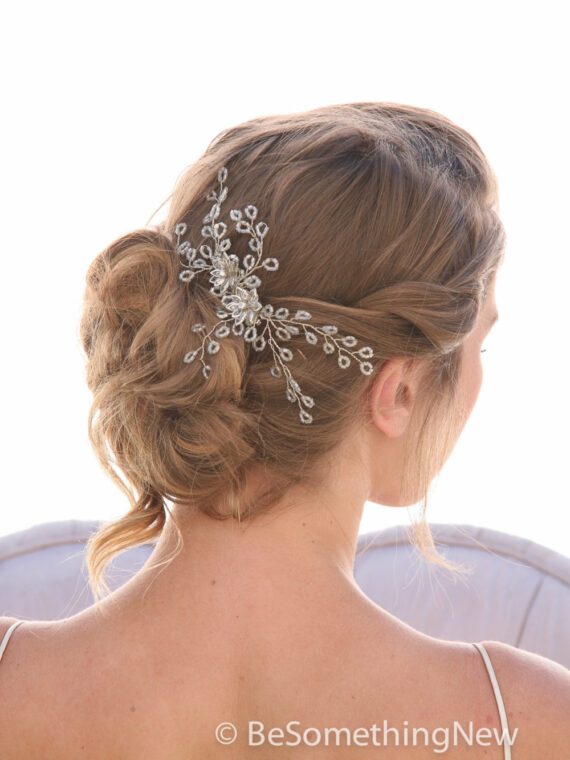beaded wedding hair comb in silver
