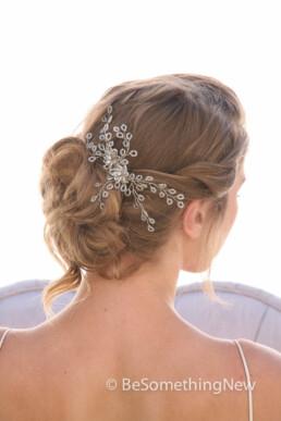 Spray of Crystals Silver Hair Comb Wedding Hair Comb, Wedding Headpiece, Beaded Bridal Comb Rhinestone and Crystal Hair Accessory Beaded hair accessory