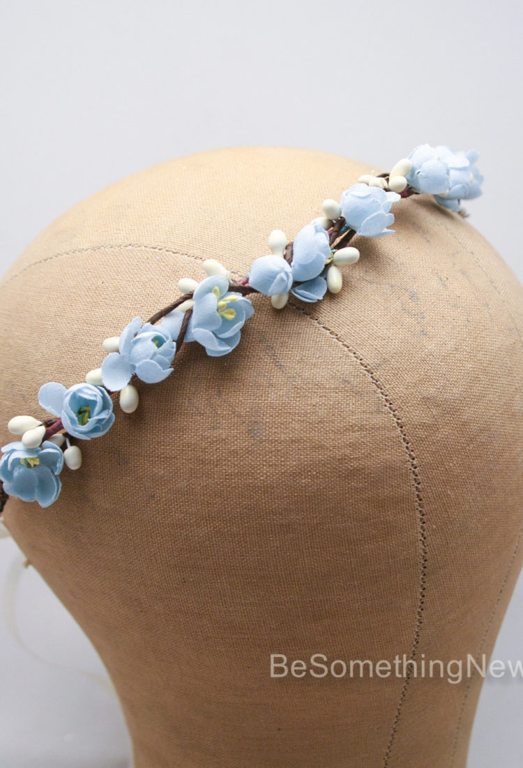 vintage flower crown blue wedding headband bridesmaid hair flower girl headpiece rustic wedding