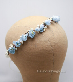 vintage flower crown blue wedding headband bridesmaid hair flower girl headpiece rustic wedding