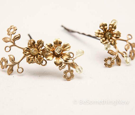 vintage gold hair pins brass hair accessories bridal headpiece bridesmaids hair accessories