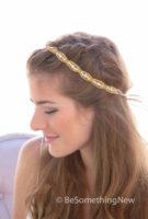 gold rhinestone headband bridal wedding headpiece