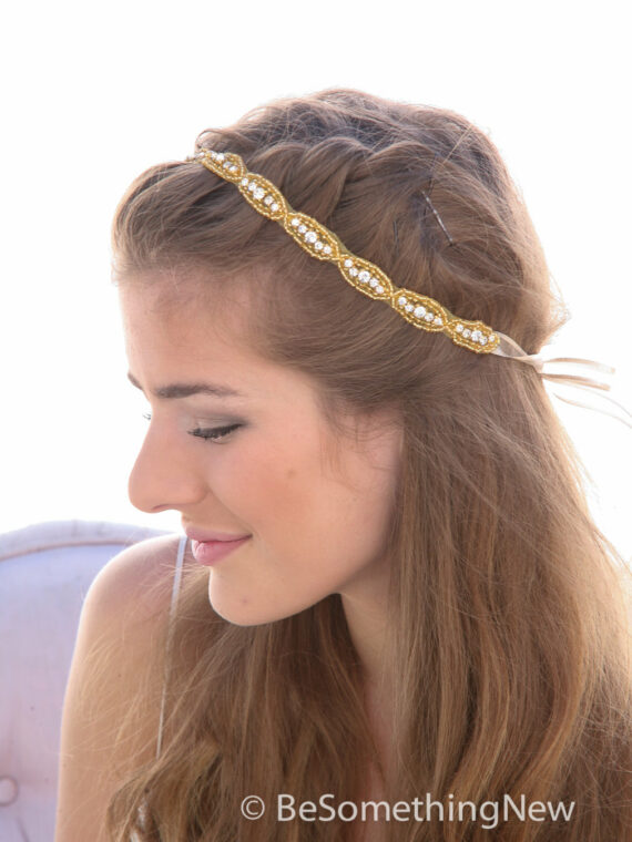gold rhinestone headband bridal wedding headpiece