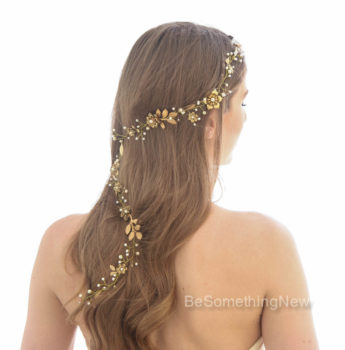 gold wedding hair vine, metal headpiece of gold leaves and metal flowers