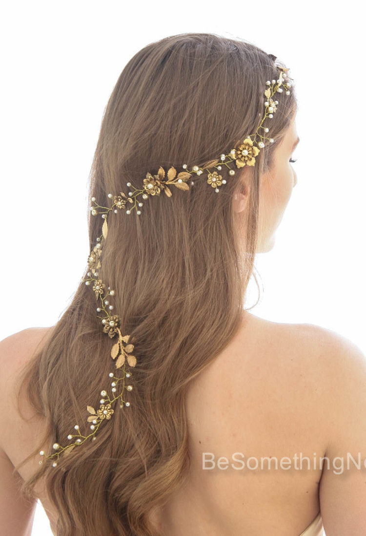 gold wedding hair vine, metal headpiece of gold leaves and metal flowers