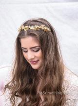 gold leaf headband wedding headpiece