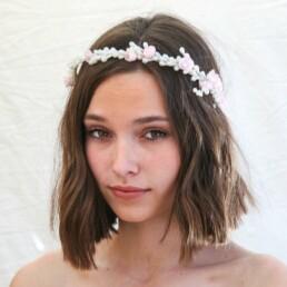 Cherry Blossom, Vintage, Wax Flower, Crown, Headpiece, Halo, Pink, Pearl, Tiara