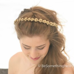 golden wedding flower crown rose headband metallic gold