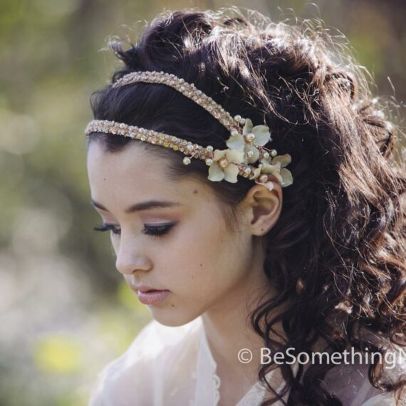 Beaded Double Tie Blush Wedding Headband with Flowers and Beading , Boho Wedding Hair Headpiece with Ribbon Tie flower crown beaded headpiece