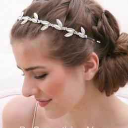 pearl leaf and rhinestone simple wedding tiara headband