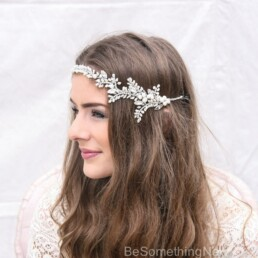 rhinestone and fresh water pearl wedding hair vine wedding tiara
