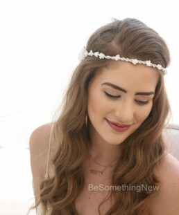 vintage pearl and flower crown first communion headpiece