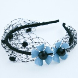 Black Net Headband with vintage blue flowers mid century hair accessory vintage hair accessory headband with netting for women