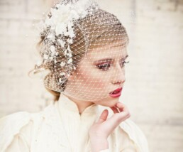 birdcage veil with vintage flowers and pearls