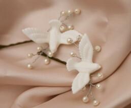 white love bird Bobby Pins set doves