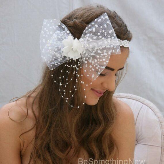 White, Elastic Headband, Dotted, Veil, Bow, headband, Flower Girl, Bachelorette Party, polka dots,