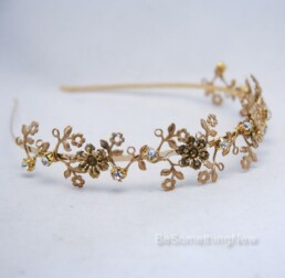 Gold Metal Flower Headband with metal flowers and rhinestones bridesmaids hair