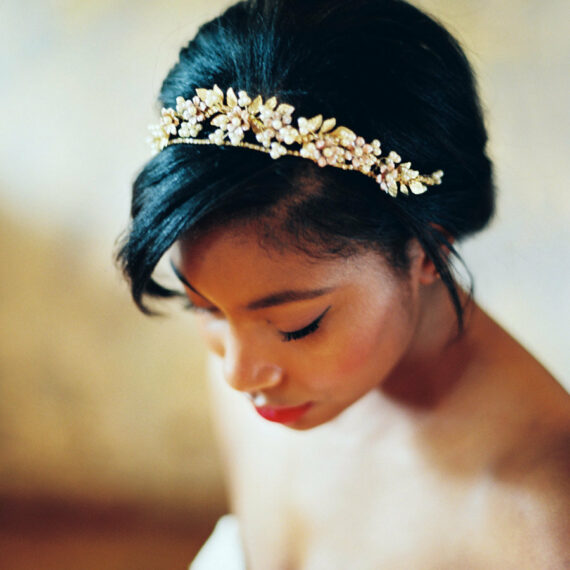gold crown wedding headpiece, hand painted flowers and gold metal leaves