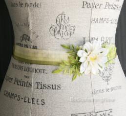 Wedding Gown Sash in Green and Gold with Daisy bridesmaids dress sash vintage ribbon sash garden wedding