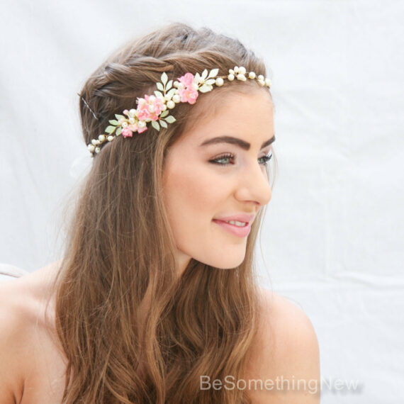 boho wedding Pink Flower Crown with hand painted Green Leaves and Pearls