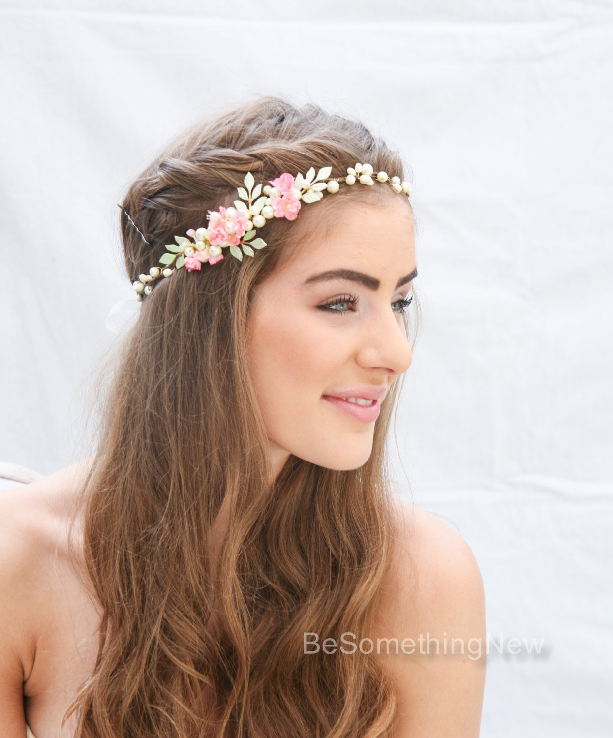 Wedding Hairstyle Crown: Flower Crown With Hand Painted Leaves And Pink Flowers