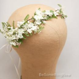 green fern flower crown ivory flowers bridesmaid wreath garden wedding flower girl crown