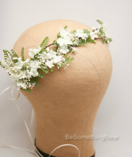 green fern flower crown ivory flowers bridesmaid wreath garden wedding flower girl crown