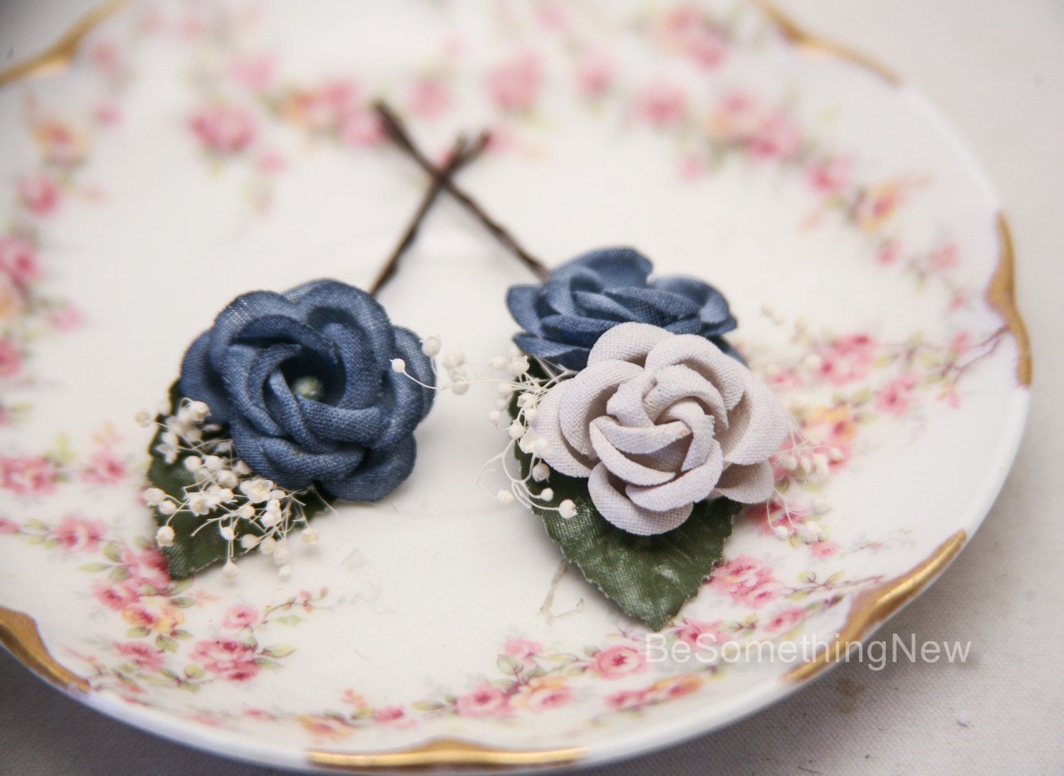 flower Bobby Pins wedding hair accessories in blue and gray babies breath hair clips