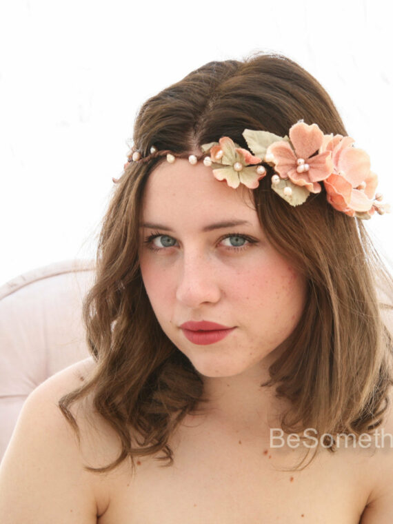 Peach Flower Crown, Boho Wedding Headpiece
