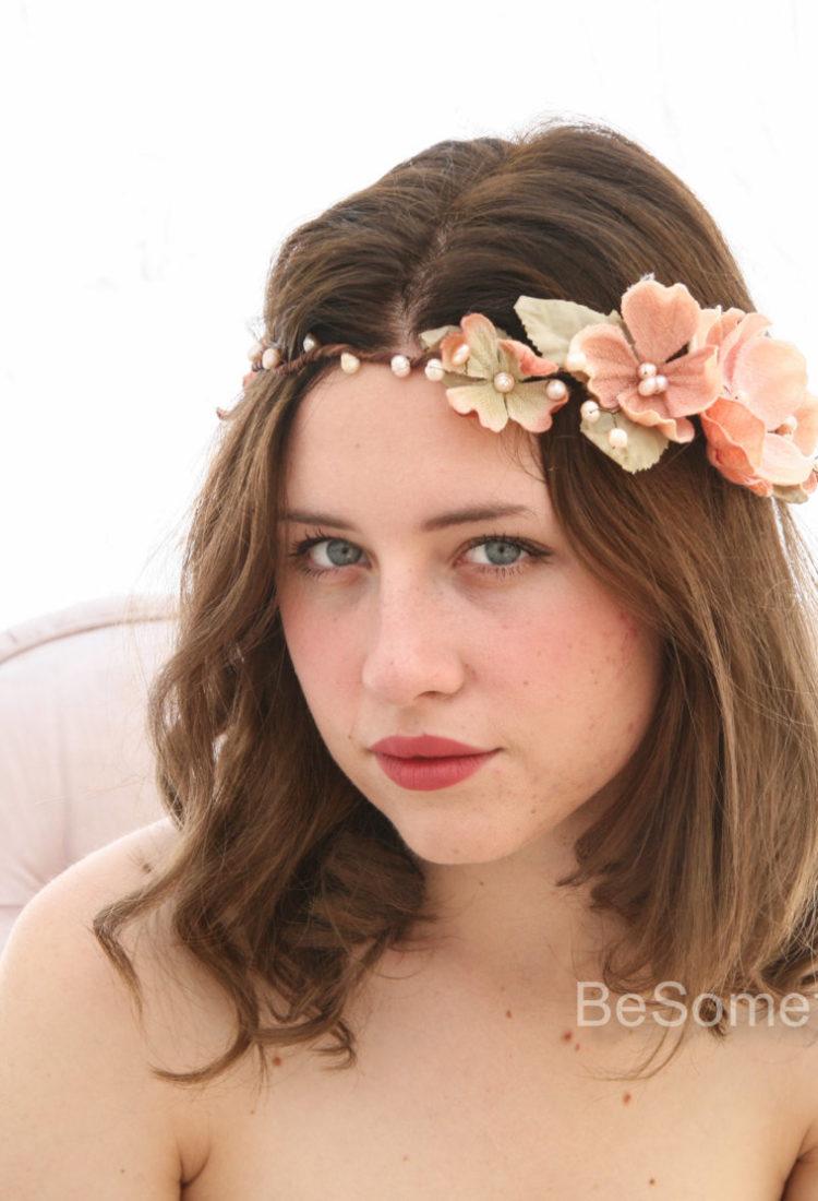 Peach Flower Crown, Boho Wedding Headpiece