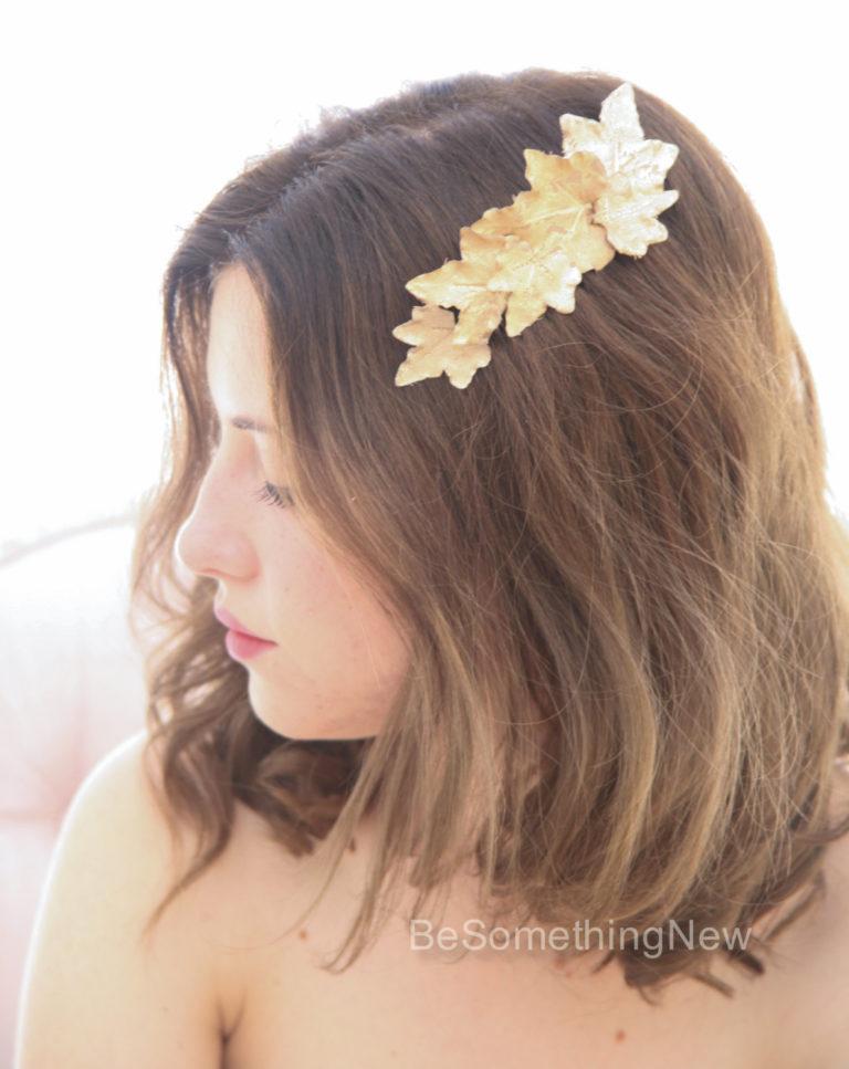 bridal comb gold leaf bridesmaids hair comb