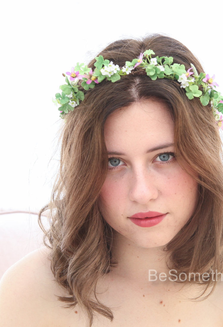 Green And Lilac Rustic Flower Crown Woodland Wedding Hair Halo Headband Boho Wreath Of Shamrock Leaves Flowers