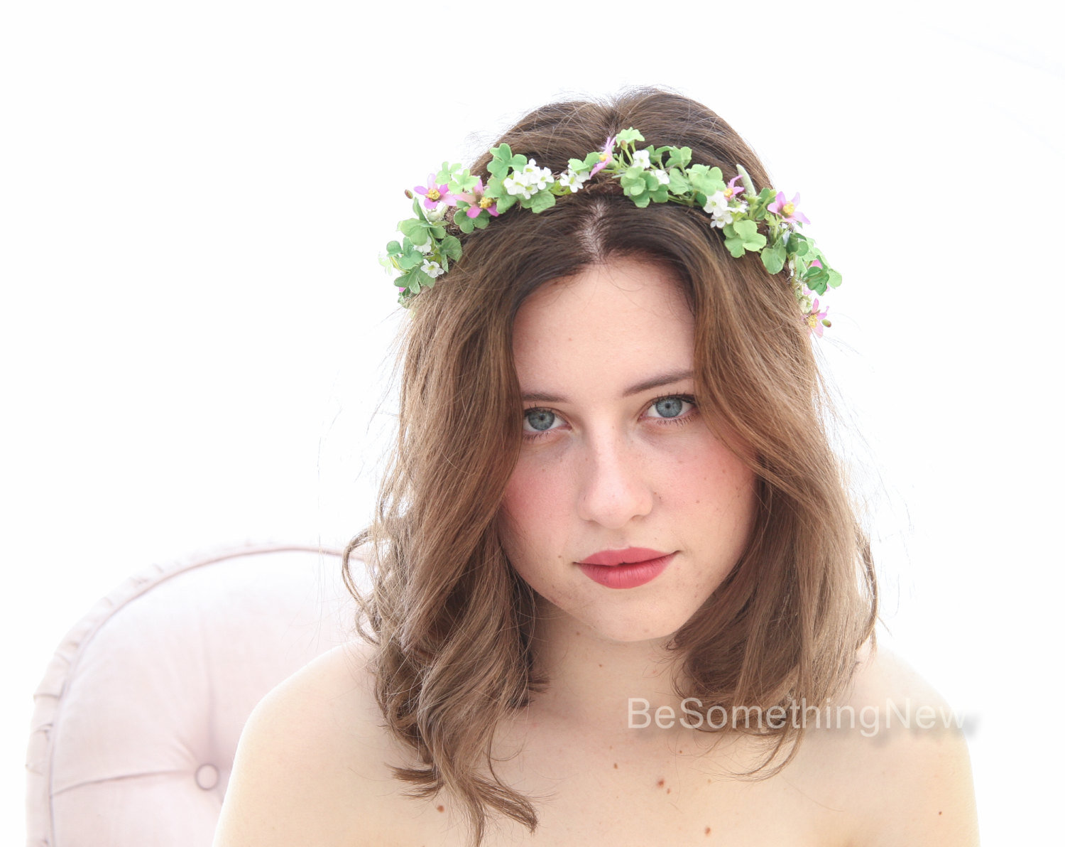 Green and Lilac Rustic Flower Crown Woodland Wedding Hair Halo Flower  Headband Boho Wedding Hair Wreath of Shamrock Leaves and Flowers – Be  Something New 40f7432042b