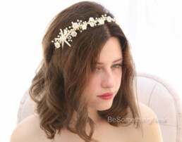 starfish and pearl beaded wedding headpiece bridal tiara, blush pink and pearl
