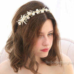 starfish and pearl beaded wedding headpiece bridal tiara, blush pink and pearl