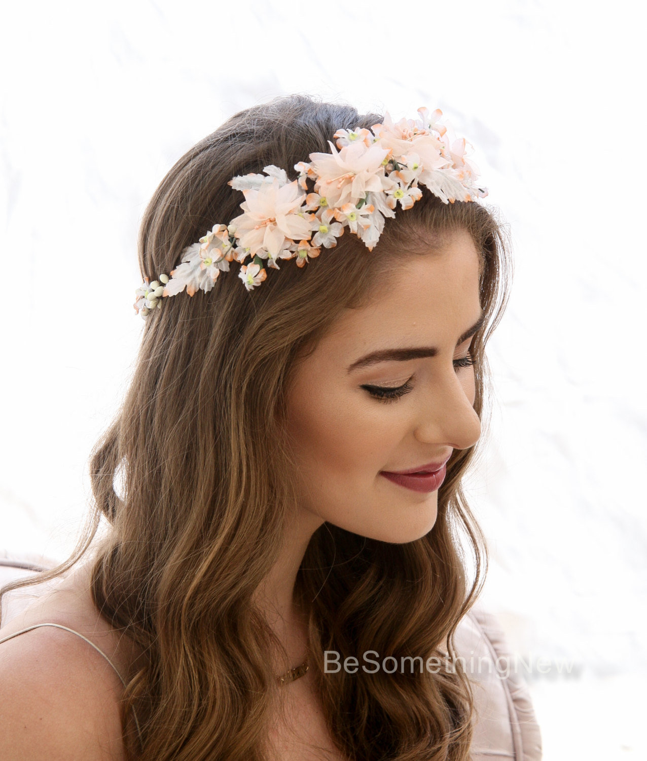 Peach Flower Crown made from Vintage Flowers Floral Headband Bridesmaids  Hair Accessory Flower Girl Halo Boho Music Festival flower crown – Be  Something New 4dac701c471