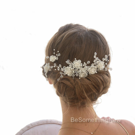 vintage crystal flower and bead wedding hair pin and comb set