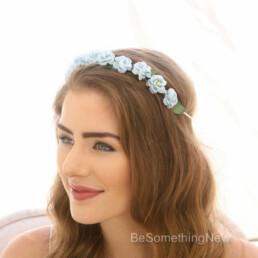 blue rose flower crown vintage flower wreath bridesmaids hair wedding headpiece something blue