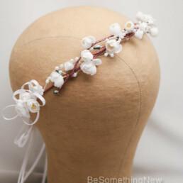 ivory flower crown, vintage flowers wedding hair, bridesmaid hair accessories, flower girl wreath halo