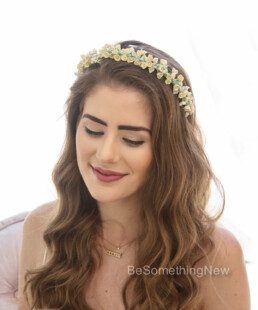 Wedding Flower Crown of Vintage Yellow Forget Me Not flowers Yellow Floral Headband bridesmaid hair accessory vintage bride flroal headpiece