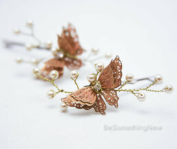 butterfly hair pins wedding hair set of hair pins with butterflies and pearls