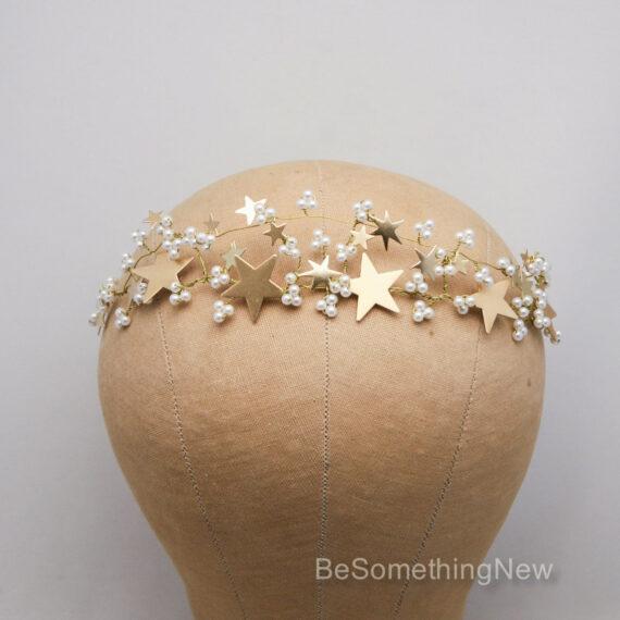 gold star celestial wedding crown bridal tiara