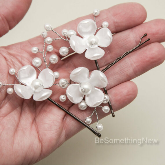 Pearl Flower Hair Pins Beaded Hair Accessories wedding hair accessories hair pin set pearlized flowers