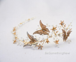 Gold Butterfly Hair Vine with Flowers and Pearls, Rustic Beaded Woodland Wedding Hair accessories