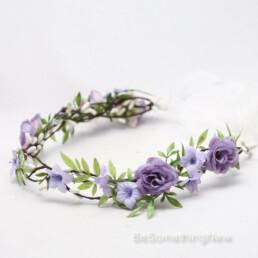 boho lavender flower crown wedding hair accessory floral wreath wedding hair greenery wreath