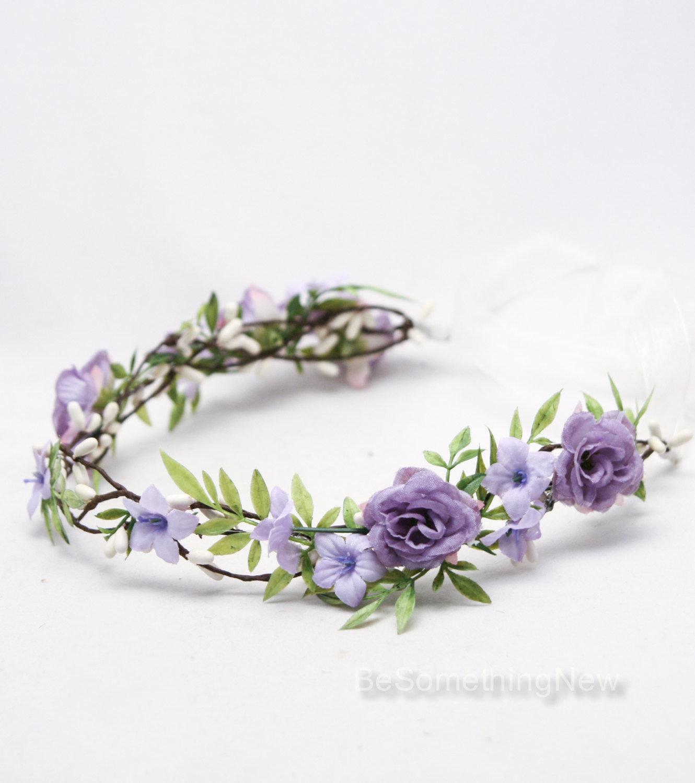 Rustic Flower Crown Lavender Floral Hair Vine Woodland Wedding Hair