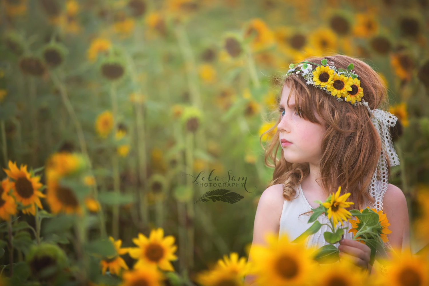 Flower Girl Sunflower Flower Crown With Green Leaves And